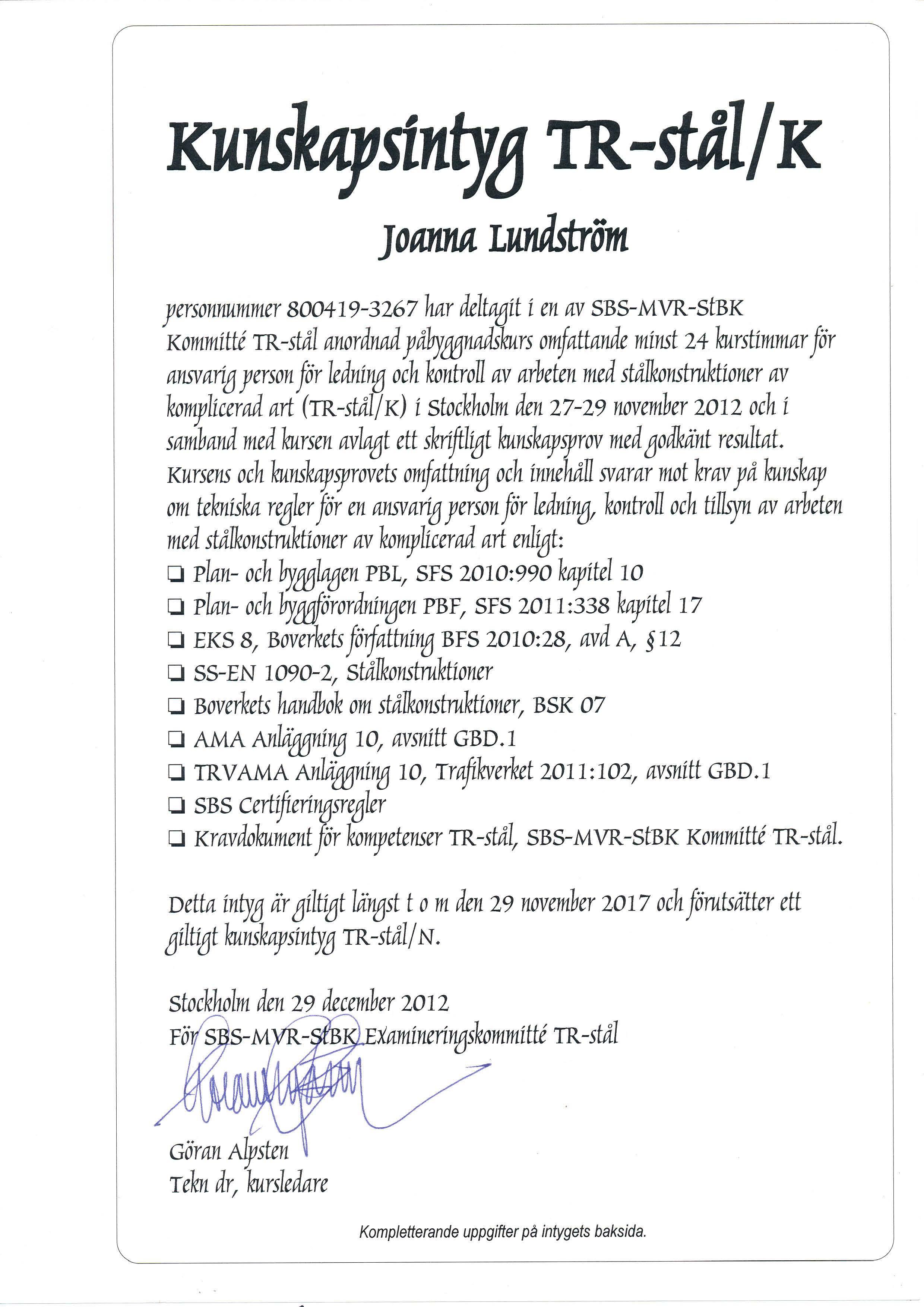 TR-stal K Joanna