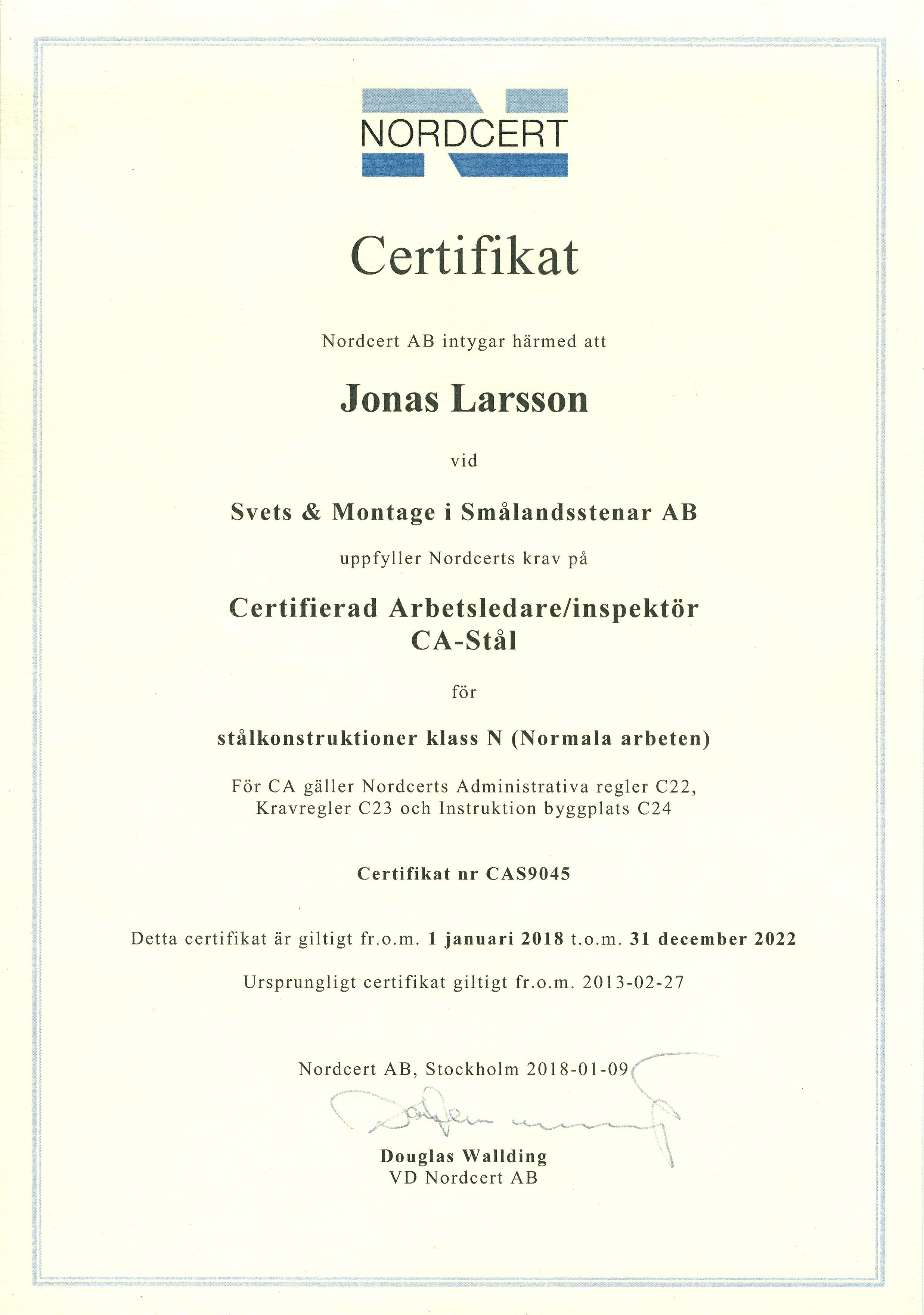 Nordcert certifikat Jonas